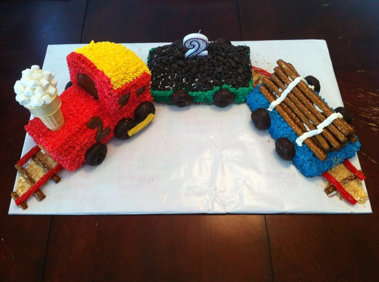 Train birthday cake- made by my husband for my little boys 2nd birthday.  ?