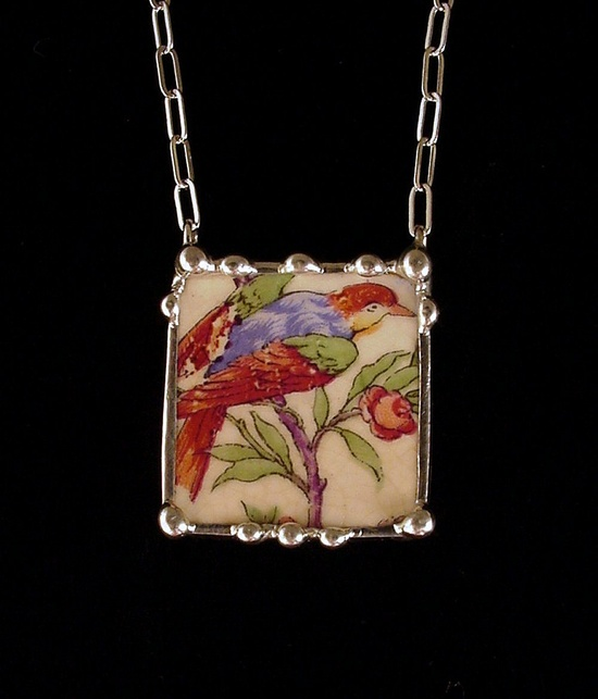Antique bird of paradise colorful broken plate broken china jewelry necklace
