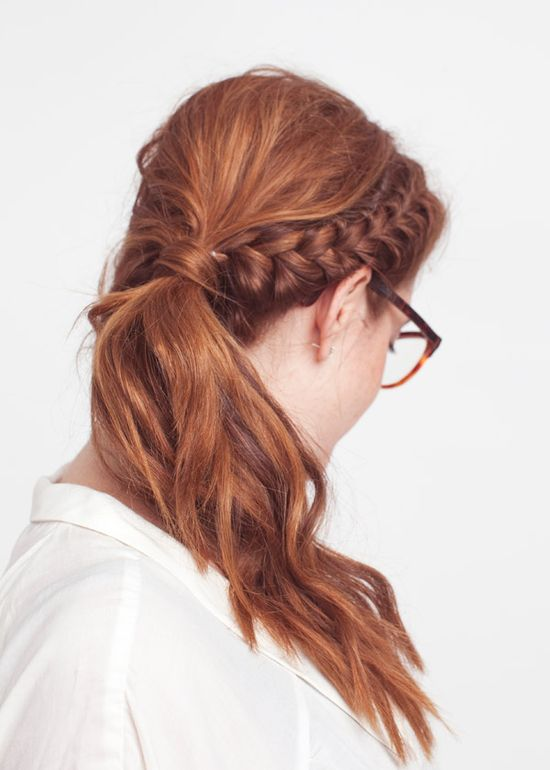 side braid, messy ponytail  #hair
