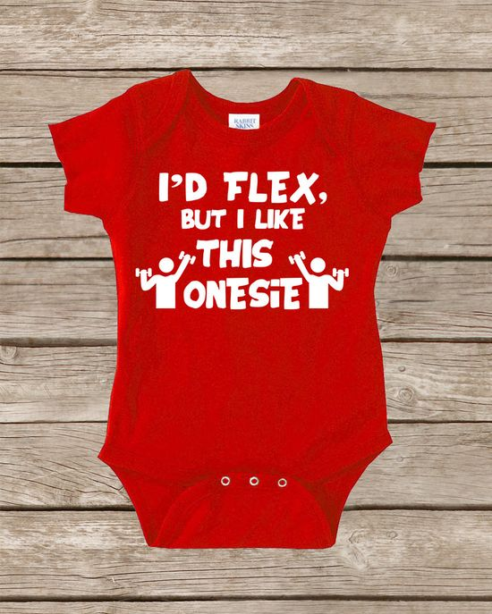 Funny Baby Onesie I'd Flex but I Like This Onesies by TheBoldBaby, $14.00
