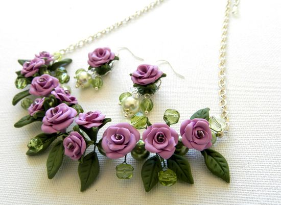 Violet jewelry set  Handmade roses  Romantic by insoujewelry, $63.00