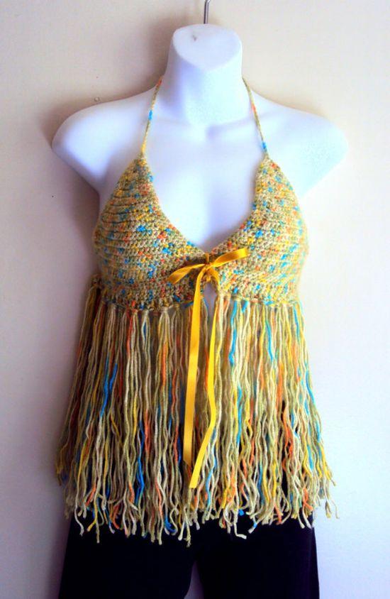Crochet Fringe Boho Bikini Top Hippie Style Backless Top Rainbow Tank Halter Swimwear Festival Top Spring Summer Women Beachwear Clothing by GrahamsBazaar, $35.00