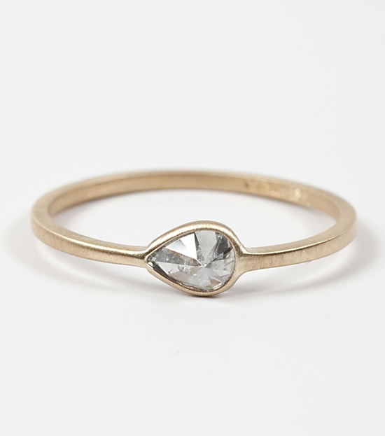 Grey Diamond Teardrop Ring