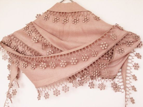 ~ PASHMINA SCARF With Floral Lace ~