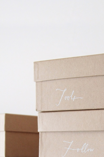 hand labelled boxes.
