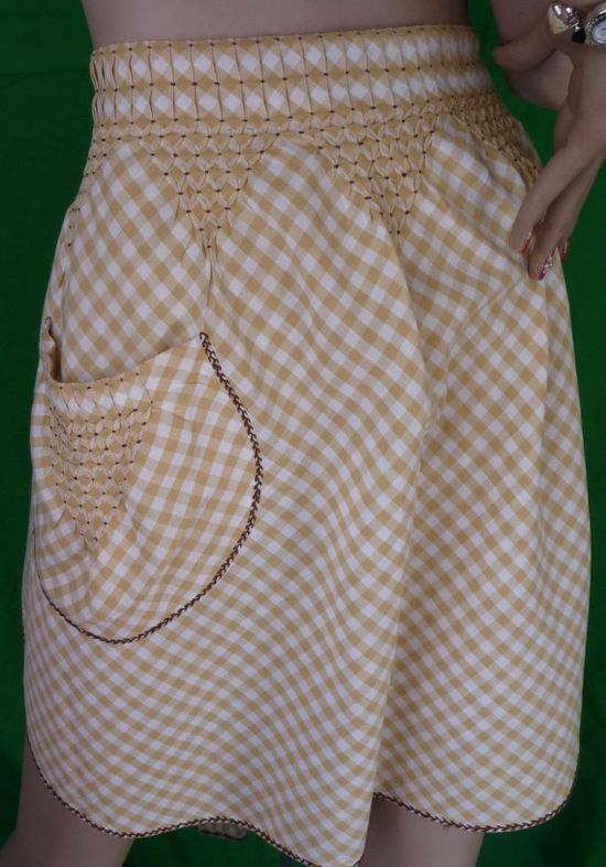 Counter-Change Smocked Gingham Apron