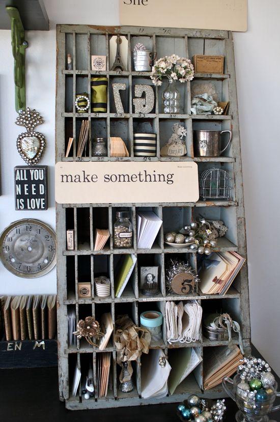 Oh how I adore this delightfully vintage/shabby chic storage cubbyhole (mail slot) shelf. #scrapbook #studio #furniture #shelf #organization #craft_room #shabby_chic #vintage #storage
