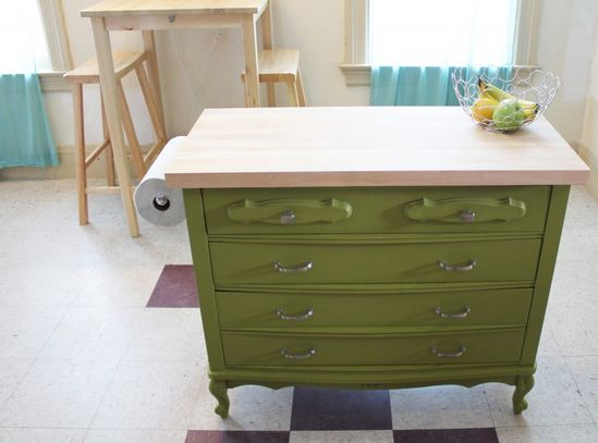 Turn a dresser into a kitchen island