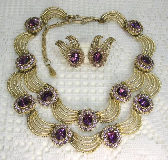 Vintage Coro Two-Tiered Amythest Rhinestone Necklace and Earrings