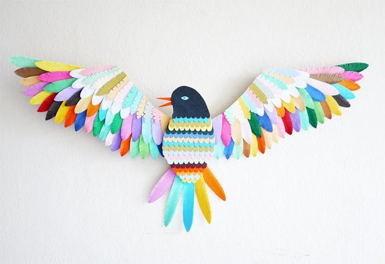 Bird // Wall mounted paper artwork ~ Lydia Kasumi Shirreff