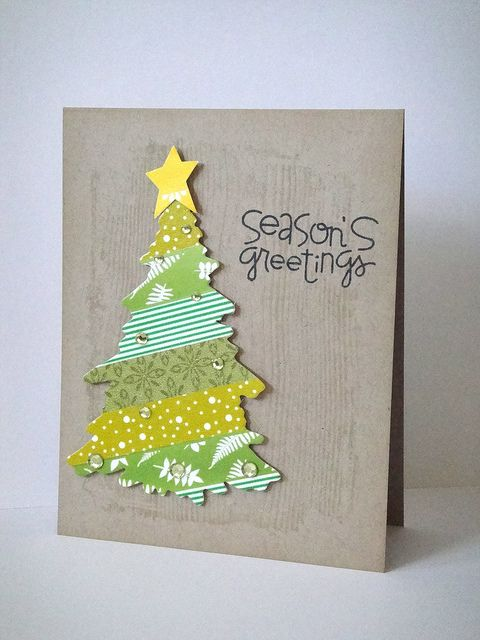 handmade card ... washi tape Christmas tree ... clean and simple ... mod look .... fun font sentiment ...