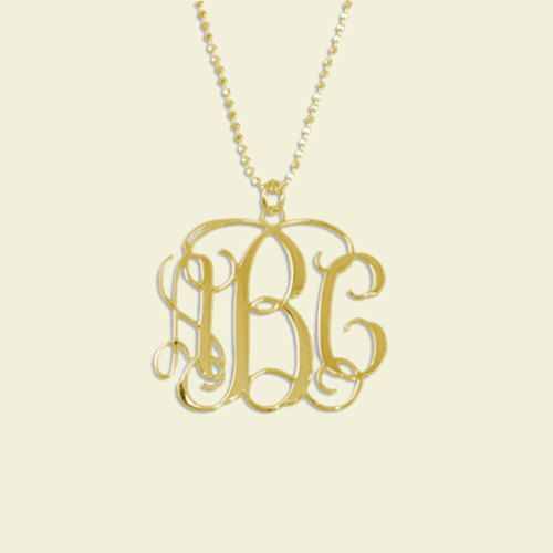 Monogram Necklace 1 1/4 Inch 0.7MM Thick Monogrammed Letter Pendant 1 2 3 Initials 18k Gold Plated Customized Custom Made Name Message. $46.99, via Etsy. love this