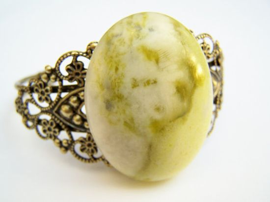 Vintage Inspired Cuff Bracelet with Yellow Green Stone - Lemon Jade Bracelet by polishedtwo, $12.50