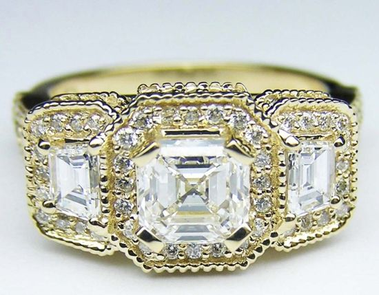 Yellow Gold Asscher Cut Diamond Vintage Engagement Ring  with Trapezoids