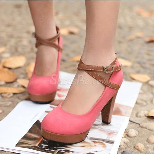 Elegant #Chunky #Heel #Platform #Sweet Girl's #Shoes