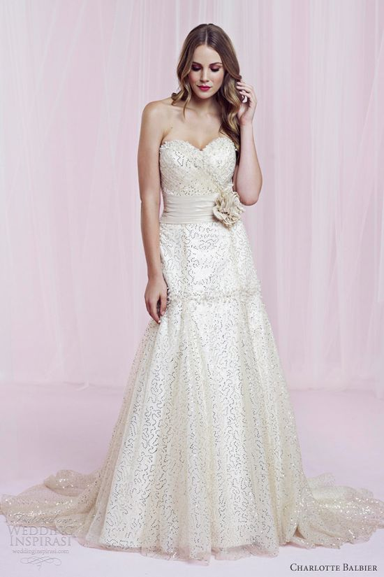 charlotte balbier romantic decadence 2013 gold sequin tulle strapless gown