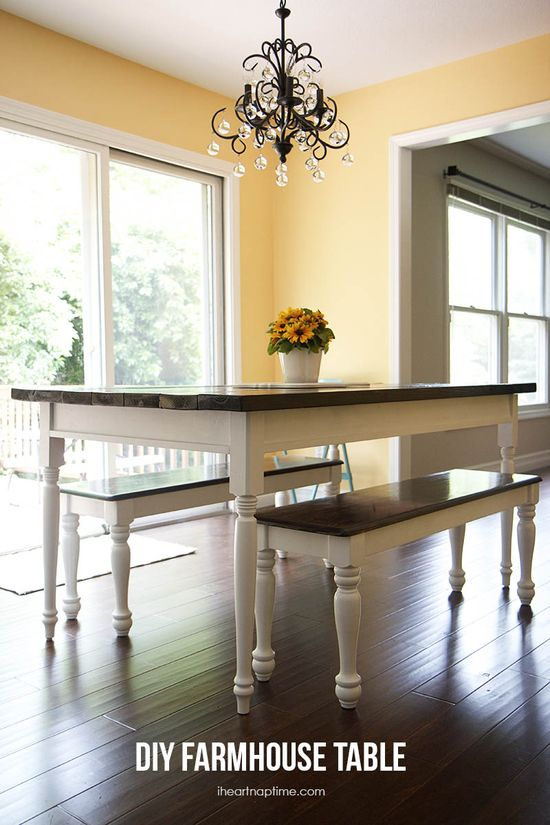 DIY farmhouse table on iheartnaptime.net  (original plans on Ana White, of course) - I helped a good friend make this today for under $100! it's not difficult to build at all! We even altered the dimensions to fit her new place and added breadboards on the end to give it a more detailed look! I'm really happy with the way it turned out & she is truly in love with it!!