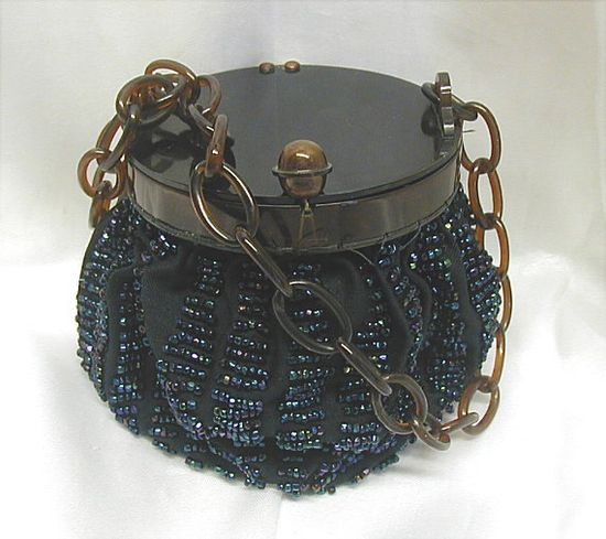 Vintage Flapper Beaded Pouch Purse With Lucite Cover and Chain