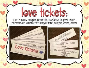 Love tickets: Easy coupon book for gifts on Valentine's Day!