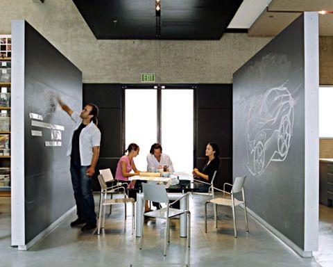 Open plan design studio with chalkboards for brainstorming.