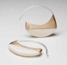 Bone and brass earrings