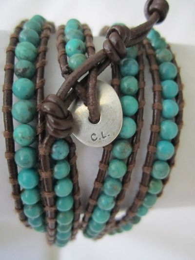 CHAN LUU BRACELET-Wrap bracelet in turquoise leather chord with adjustable sterling silver toggle closure.