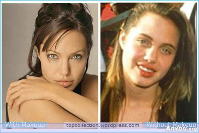 Angelina Jolie. This one really isn't fair. This is comparing an adult Angie to a picture of herself as an awkward teenager with acne, no makeup, and braces. She looks amazing without makeup now, and I am so jealous!