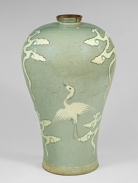 Maebyeong, Goryeo dynasty (918–1392), late 13th–early 14th century  Korea  Stoneware with inlaid decoration of cranes and clouds under celadon glaze    H. 11 1/2 in. (29.2 cm)  Fletcher Fund, 1927 (27.119.11)