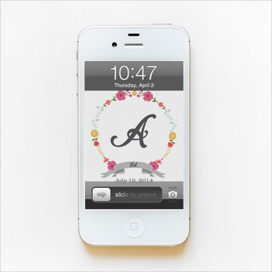 FREE PRINTABLE Floral Monogram Phone Wallpaper -