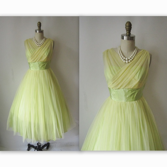 Lemon Lime 1950s Vintage Party Dress