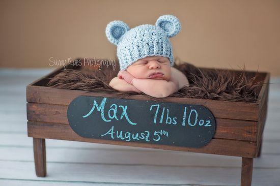 NEWBORN Baby Boy Hat, Baby Boy Teddy Bear Hat, Baby Flapper Beanie, Blue with Ears. Newborn Photo Props. Baby Boy Gift.