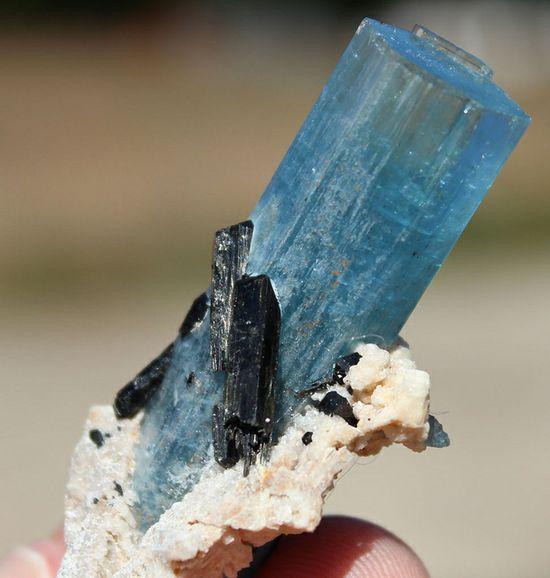 Deep blue aquamarine crystal from Erongo , Namibia