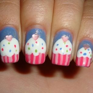 These are cupcake nails.  Click on the link to learn how to make your nails look like the picture.  thegloss.com/...  Have fun! #nailart #nails #nailpolish #cute #stylish