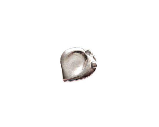 Signed Pewter Heart Pendant / Handmade Charm / Finding