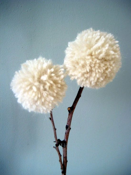DIY Yarn and Twig Dandelions--would be so cute in a vintage medicine bottle