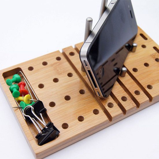 iPhone holder multi tasking desk organizer //Modo: The Modular Desktop Organizer #officeaccessories #iphone #diy