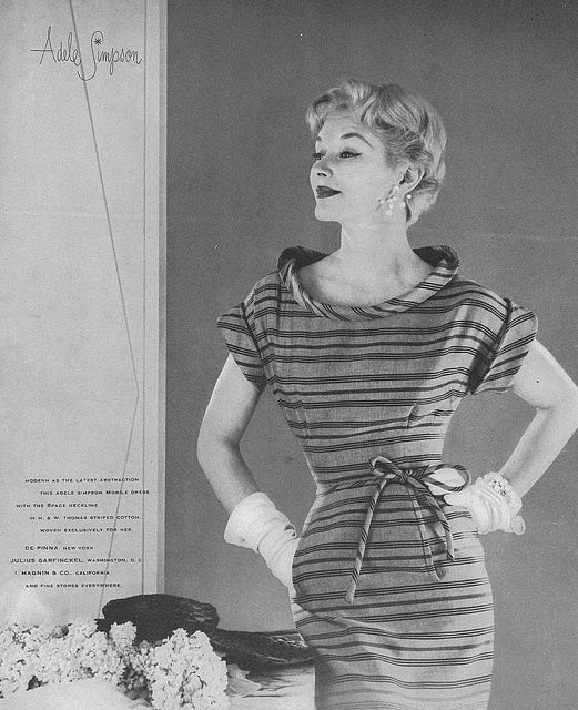 Model Lisa Fonssagrives-Penn sporting a cute, youthful stripped spring/summer dress, 1953. #vintage #fashion #1950s