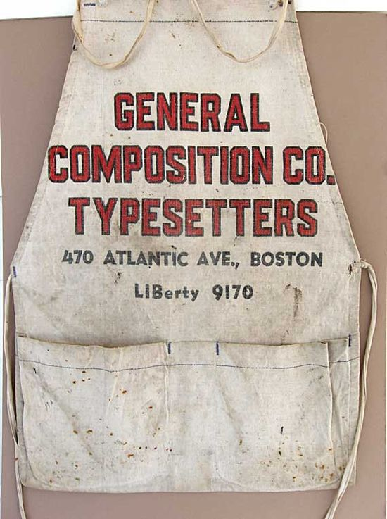 Vintage 1950 Typesetters Advertising Work Apron, Boston, Well Used via Etsy