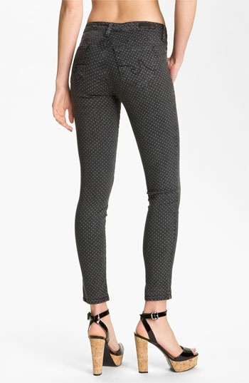 ag printed jeggings in pin dot black