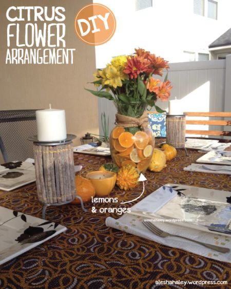 DIY Orange Slices Flower Arrangment #DIY #flower_arrangement