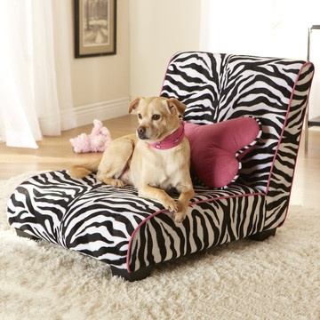 Pet Chaise Lounge in Zebra Print.