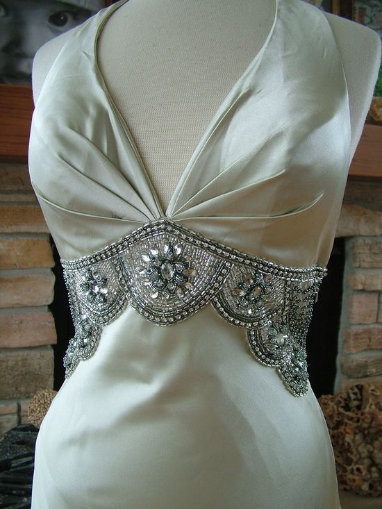 Wedding dress 1930s vintage inspired bridal gown reception evening dress red carpet gown. $535.00, via Etsy.