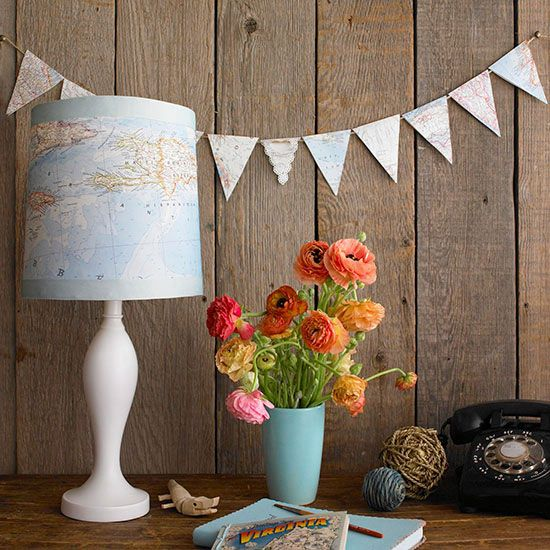 Give life to a plain lampshade using a vintage map! More DIY lamp projects: www.bhg.com/...