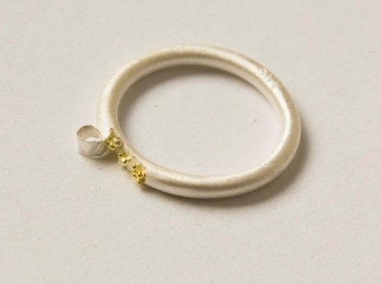 "Angela Ciobanu silver, 24 k gold (granulation) - ""It is the imperfection in things that surprises and attracts our perception. Our imperfect and asymmetrical construction will endlessly filter Beauty through senses which unconsciously search for scratches in Perfection."""
