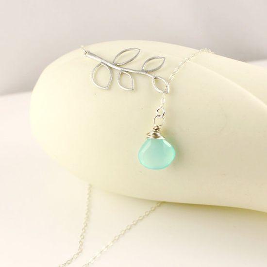 Aqua Blue Chalcedony Lariat Necklace Tree by anatoliantaledesign, $33.00