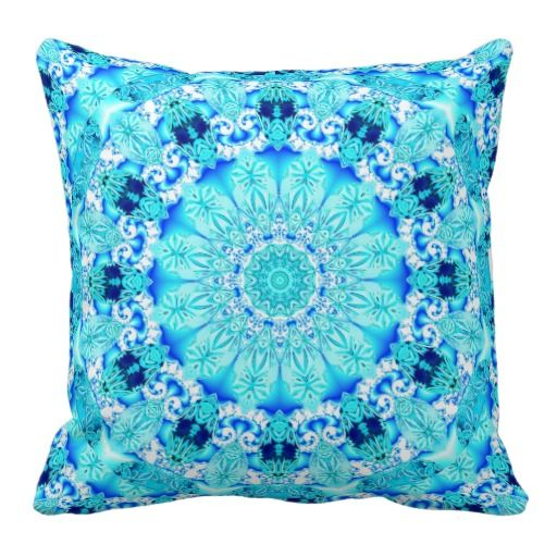 Aqua Lace, Delicate, Abstract Mandala Throw Pillows