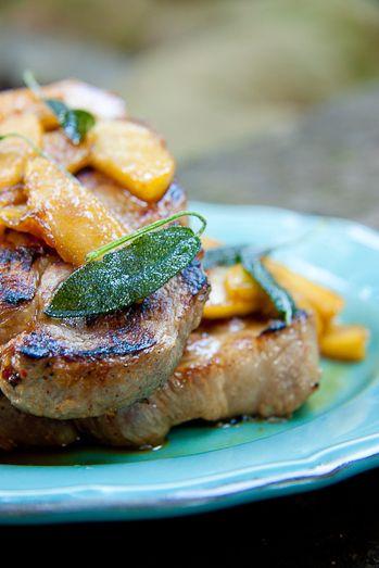 Pork Steaks with Sautéed Apples and Crispy Sage