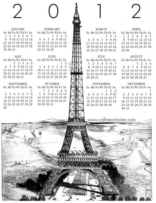 """Call Me Victorian"" free printable calendar."
