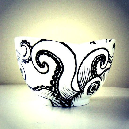 Octopus Bowl Ceramic Black and White Hand Painted Kraken Sea Creature Nautical Home Decor Serving Bowl Decorative. $40.00, via Etsy.