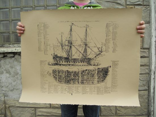 Old Ship Diagram screen printed POSTER - 22x28 ($44.00) - Svpply